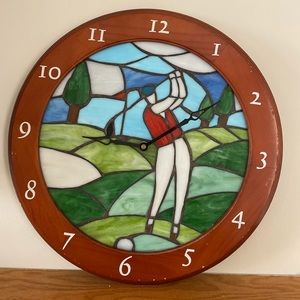 1970's Wood Framed Stained Glass Golf Motive Clock